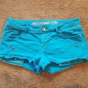Bright Blue cutoff denim shorts